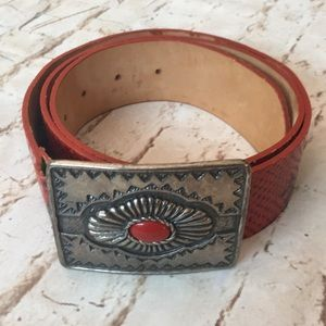 Gap Leather Western Silver Buckle Red Belt